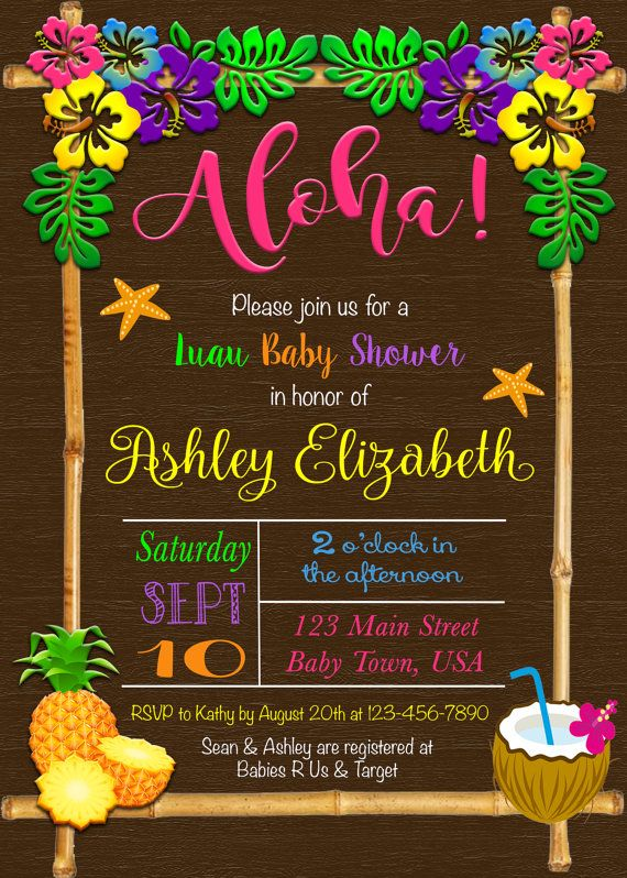 the 25+ best ideas about luau baby showers on pinterest | hawaiian, Baby shower invitations