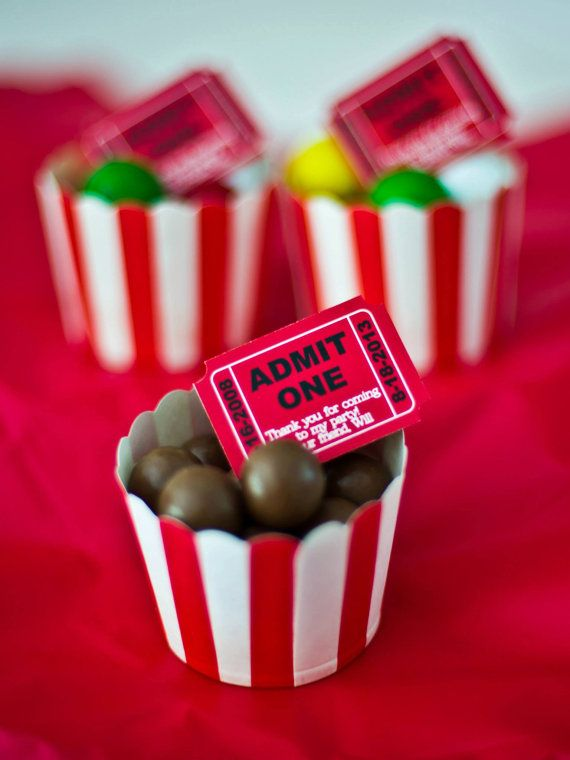 Hollywood or Cinema Birthday Party. Admit one label for favors. Personalized with name & date of birth. Lovely for carnival or circus party.