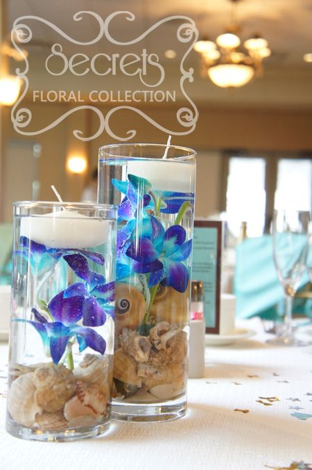 Close-up of centrepiece made with blue dendrobium orchid, seashells, and floating candles