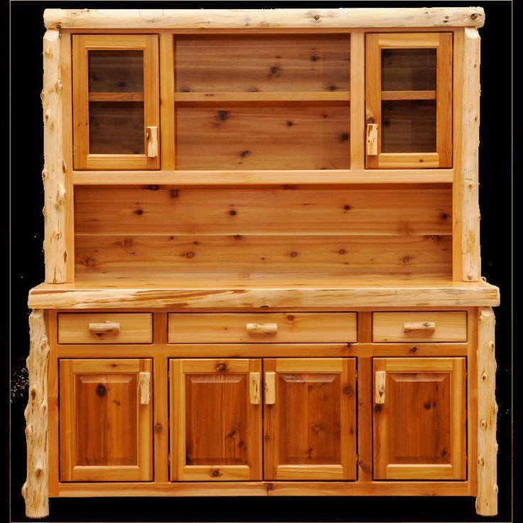Open Kitchen Buffet: Cedar Buffet And Hutch Open Shelving Quality Wood Western