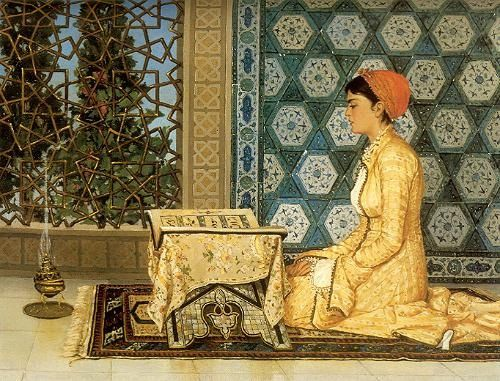 Ottoman girl, reading koran, painting by Osman Hamdi Bey   Flickr - Photo Sharing!