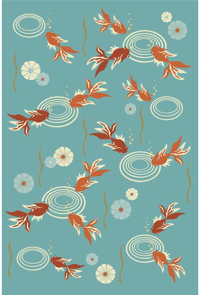 Koi pond contemporary floral asian area rugs collection for Koi pond india
