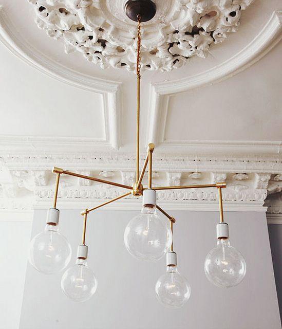 Modern brass chandelier.