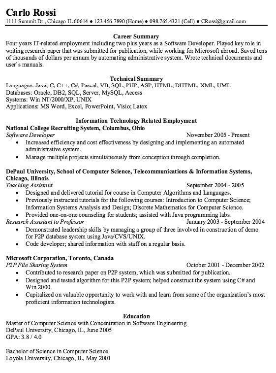 example of software developer resume httpexampleresumecvorgexample - Responsibilities Of A Software Engineer