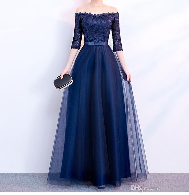 Elegant Navy Blue Evening Dress Strapless Half Sleeves Pleats Tulle Lace Top Prom Dresses Lace-up Zipper Back Plus Size Evening Dresses