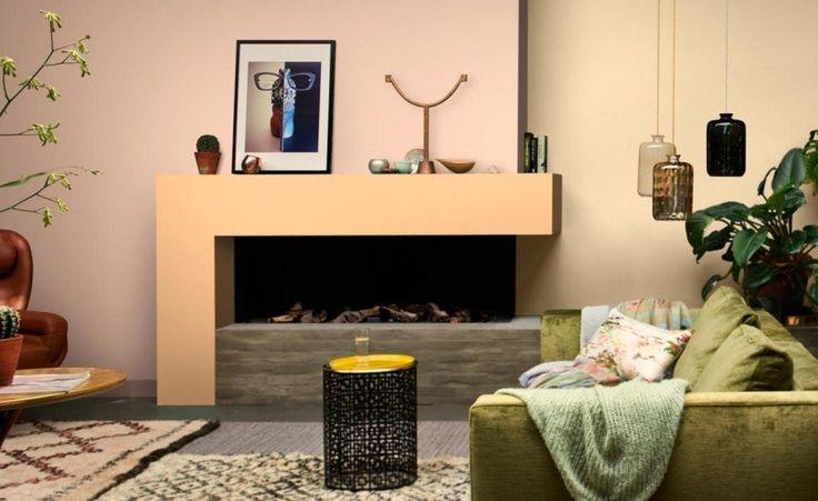 Warme Wandfarben im Wohnzimmer- Pfirsich und Lavendel/Rosa