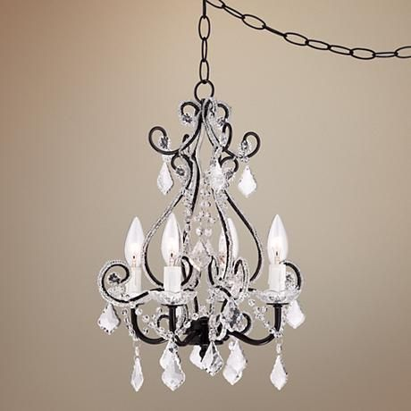 Leila Black Clear Swag Plug-in Chandelier  $159.99