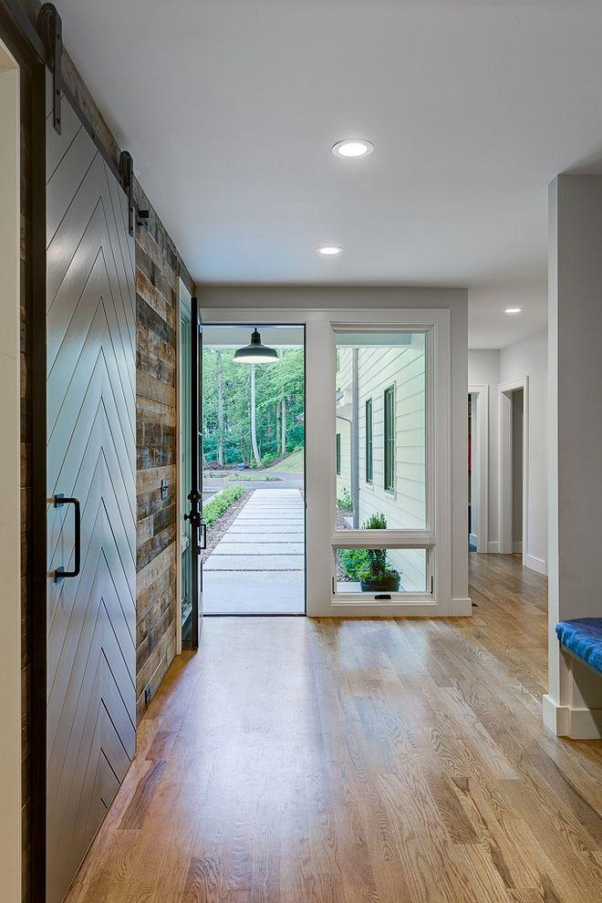 Modern farmhouse foyer front door wide sidelights …