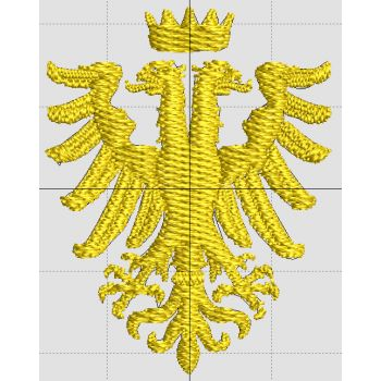 Embroidery features the Byzantine Double Headed Eagle. Embroidery is approximately 1.75x1.25 inches and located on the left chest area.
