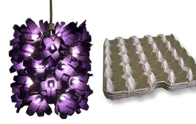 Original lámpara hecha con hueveras