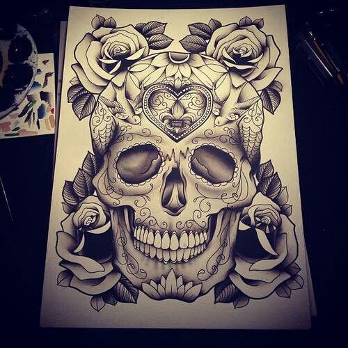 Skull Tattoo Sketch Tats Designs Amp Sketches Pinterest