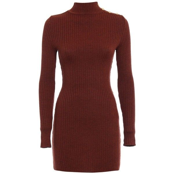 Rib Knitted Wool Mini Dress (2,090 PEN) ❤ liked on Polyvore featuring dresses, brown, short red dress, red turtleneck dress, brown ribbed turtleneck, short dresses and ribbed turtleneck top
