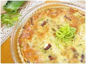 Пирог киш лорен с беконом и луком порей