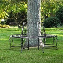 Poze BAG201 - Banca metalica circulara, copac, gradina - Gri