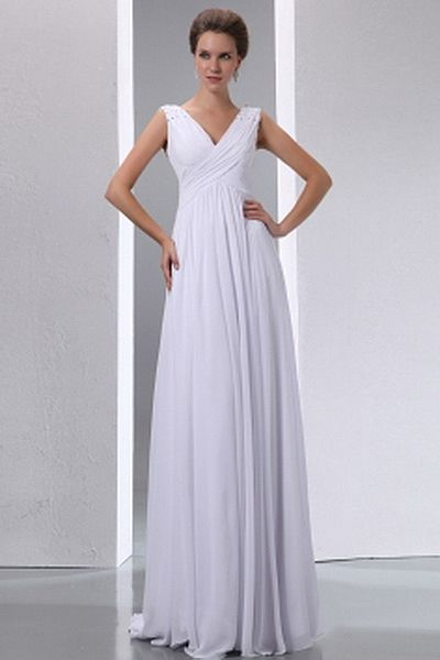 V-Neck A-Line Chiffon Mother Of Bride Dresses wr1222 - http://www.weddingrobe.co.uk/v-neck-a-line-chiffon-mother-of-bride-dresses-wr1222.html - NECKLINE: V-Neck. FABRIC: Chiffon. SLEEVE: Sleeveless. COLOR: White. SILHOUETTE: A-Line. - 122.59