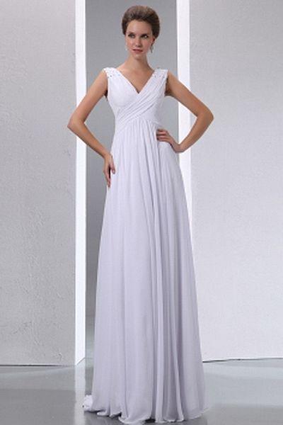 V-Neck A-Line Chiffon Mother Of Bride Dresses wr1222 - http://www.weddingrobe.co.uk/v-neck-a-line-chiffon-mother-of-bride-dresses-wr1222.html - NECKLINE: V-Neck. FABRIC: Chiffon. SLEEVE: Sleeveless. COLOR: White. SILHOUETTE: A-Line. - 122.59