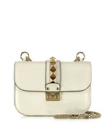 LIGHT IVORY LEATHER SMALL SHOULDER BAG VALENTINO