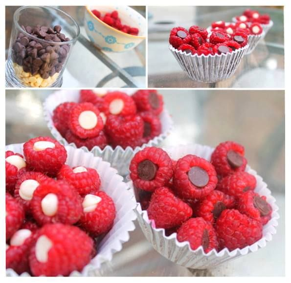 Wash the raspberries. Put a chocolate chip in each raspberry. Quick and easy!
