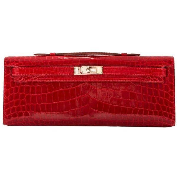 Pre-Owned Hermes Braise Red Kelly Cut Shiny Porosus Crocodile Silver... (1.868.630 RUB) ❤ liked on Polyvore featuring bags, handbags, red, croco handbags, multicolor handbags, croc purse, red crocodile handbag and crocodile handbags