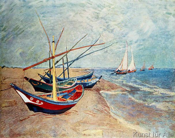 Vincent van Gogh - Fishing boats on the beach of Saintes-Maries