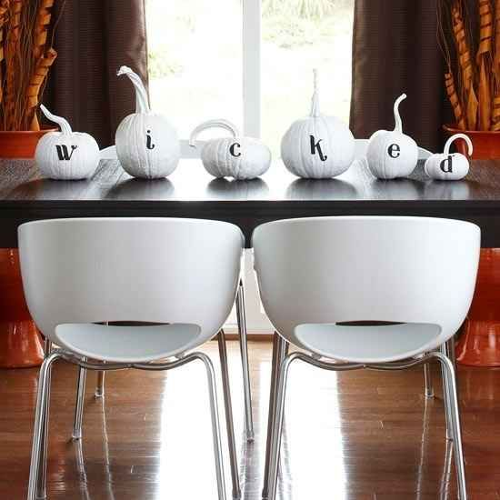 Painted Letters on White Pumpkins | 24 Beautiful And Stylish Ways To Decorate For Halloween