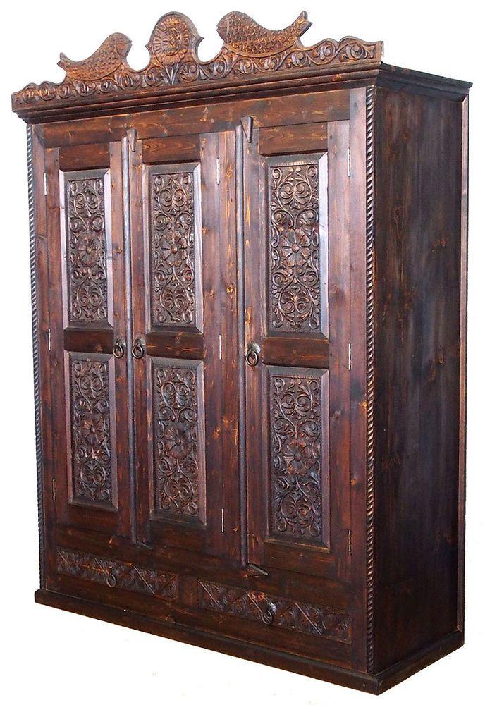 Good antik look orient Massiv Kleiderschrank Schrank wardrobe Afghan bauernschrank FS