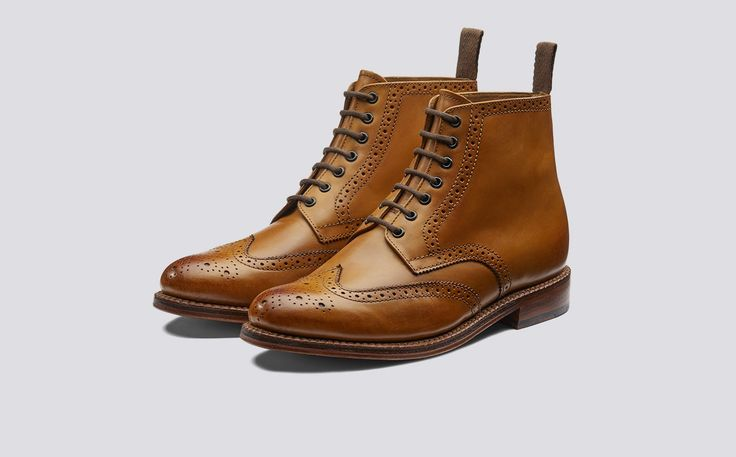 Sharp | Men's Brogue Boot in Tan Calf Leather with a Leather Sole | Grenson Shoes - Three Quarter View