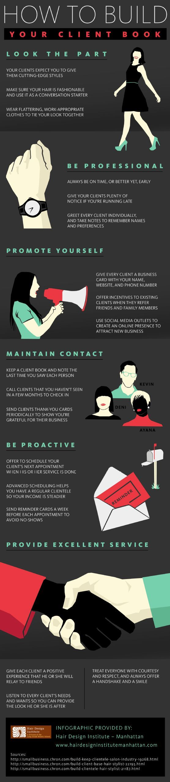 Get More Hair Salon Clients ... How to Build Your Client Book Infographic. #hairbiz #cosmetology www.OneMorePress.com