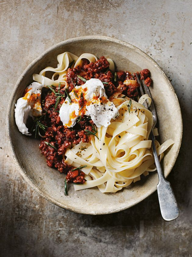 chorizo bolognese with buffalo mozzarella .