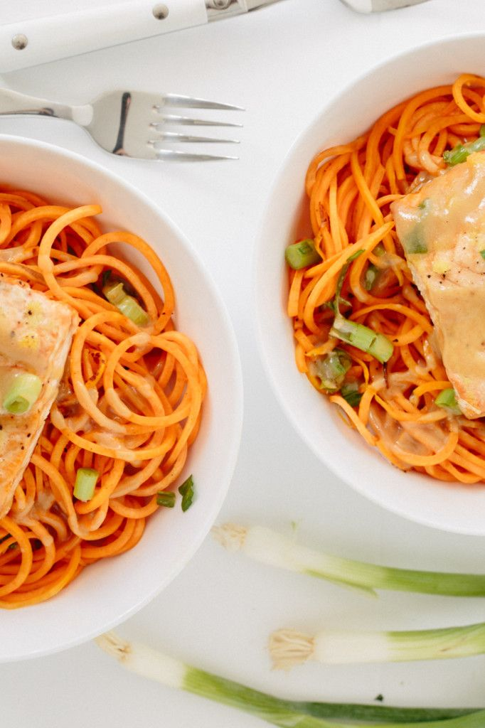 ... Roasted Salmon and Sweet Potato Noodles with Miso-Maple Dressing