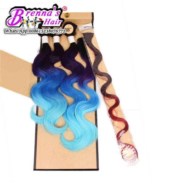 Curlkalon body wave 3pcs/lot synthetic hair weaving one lot for a full head black purple gray colors three tone blue/gray/pink-in Hair Weaves from Hair Extensions & Wigs on Aliexpress.com | Alibaba Group