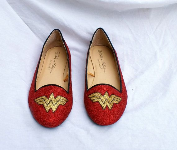 LOVE: Wonder Woman Glitter Shoes by Viabloomfield on Etsy, £32.00