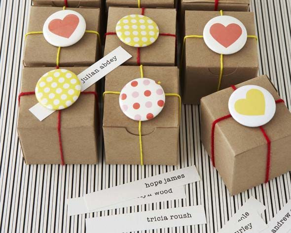 If you don't have a Kraft box, wrap it in Kraft paper and then add buttons and string.