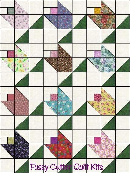 flower basket quilt block | Flower Buds Pattern Grab Bag Calico Fabric Easy Pre-Cut Quilt Blocks ...