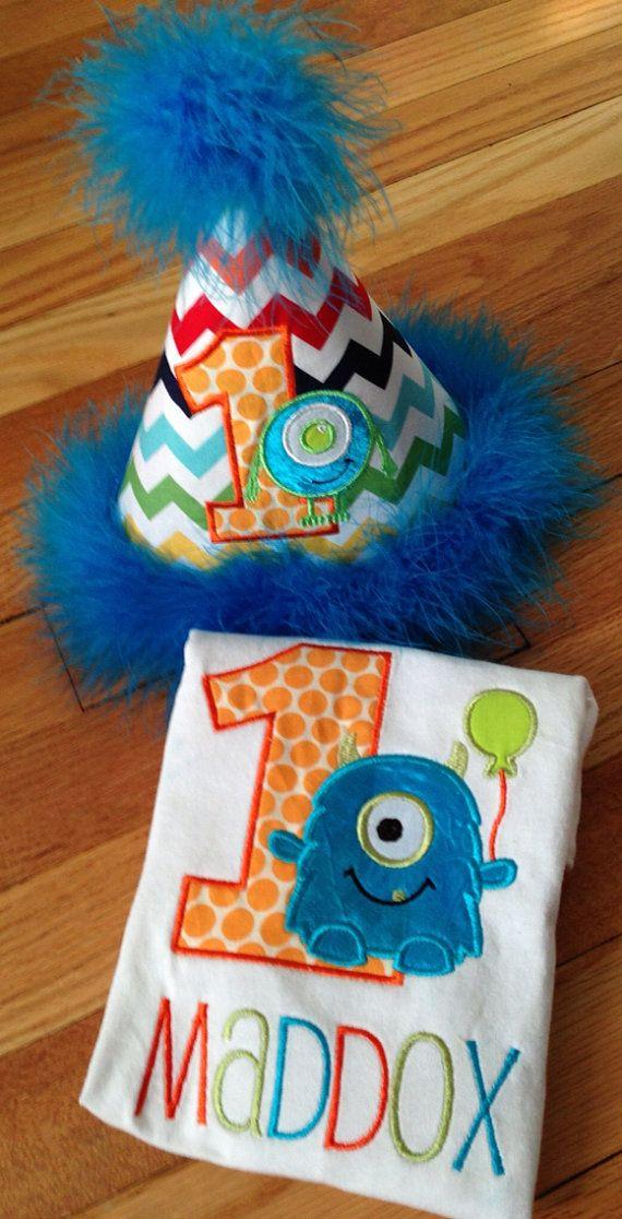 Little Monster Birthday Shirt and Hat by 2LittleHootsBoutique, $33.00