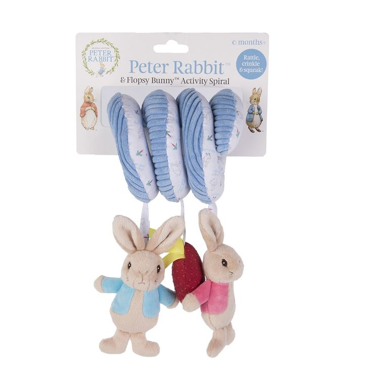 Peter Rabbit & Flopsy Activity Spiral, a gorgeous gift idea for young babies, this interactive toy is ideal to wrap around a cot or a pram !