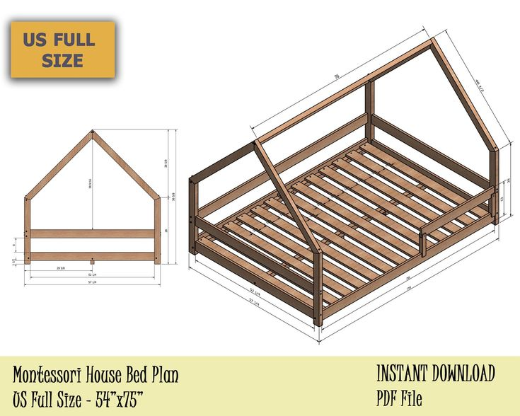 Full Size Montessori Bed Plan, Toddler House Bed Frame ...