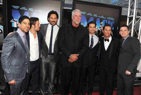 "Actors Adam Rodriguez, Alex Pettyfer, Joe Manganiello, Kevin Nash, Matt Bomer, Matthew McConaughey, and Channing Tatum    The film ""Magic Mike"" explores the world of male stripping, starring actor Channing Tatum as the veteran stripper Magic Mike. The film, which premieres June 29, debuted June 24 at the Los Angeles Film Festival. Click through the gallery to see photos from the event."