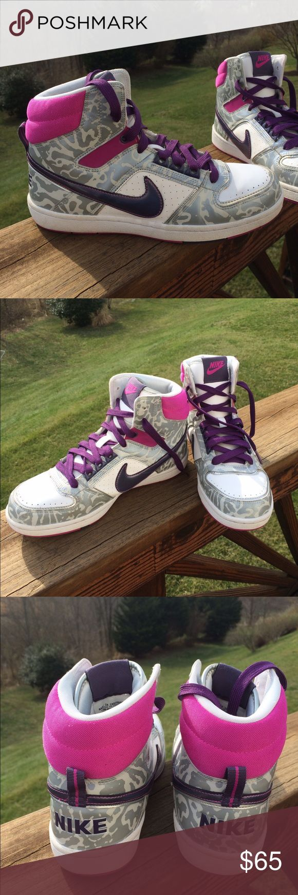 Nike silver cheetah print, pink & purple sneakers Nike silver cheetah print, pink & purple sneakers. Worn once! Size 8.5 Nike Shoes Sneakers