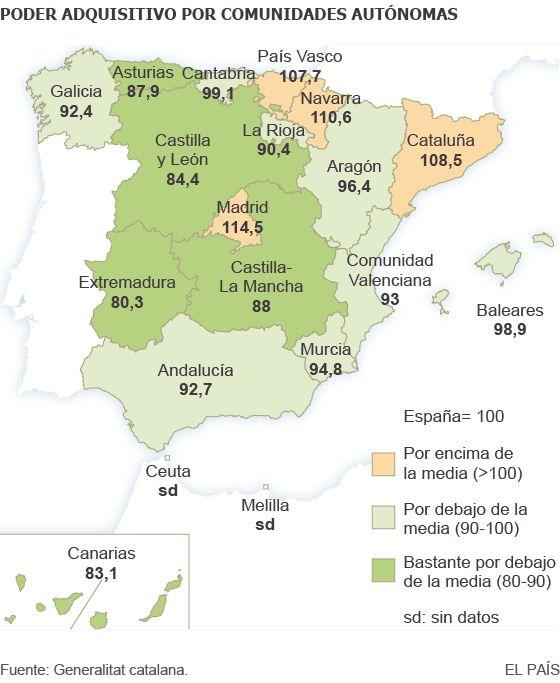 El coste de la vida reduce las diferencias de renta entre regiones   Economía   EL PAÍS