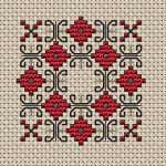 Схема Мотив в червено и черно Схема за мини игленик в червено и черно .За контурния бод е използван черен конец с две и една нишки (виш схемата). • Публикувано преди 2 месеца • 31×31 бода • 2 цвята