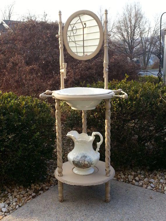 Vintage Wash Stand Mirror Bowl And Pitcher Chalk