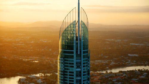 watching the sunset from the SkyPoint Observation Deck in Australia