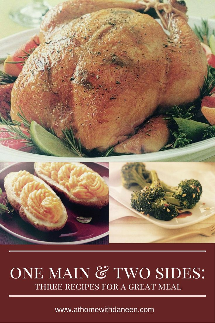 Citrus Roasted Rosemary Chicken, Creamy Butternut Twice Baked Potatoes and Garlic Roasted Broccoli--YUM!