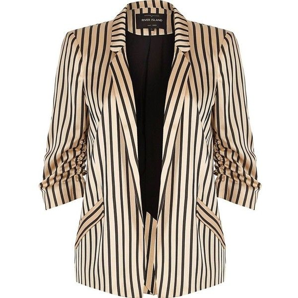 River Island Pink stripe print ruched sleeve blazer (6.390 RUB) ❤ liked on Polyvore featuring outerwear, jackets, blazers, coats / jackets, pink, women, three quarter sleeve blazer, tall blazer, pink blazer and woven jacket