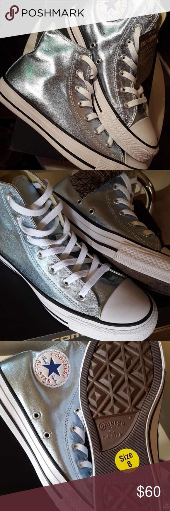 "Light Blue/Silver Metallic Converse These Converse are Amazing! ""BRAND NEW WITH TAGS""  SIZE 8 Women's. Perfect color for all year! So pretty in person  Converse Shoes Sneakers"