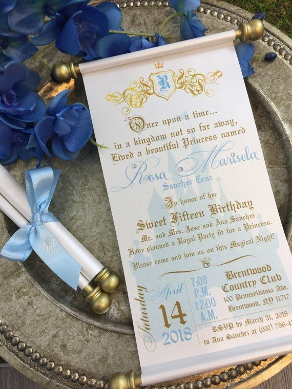 Princess Sweet 16th Birthday Scroll Invitation Cinderella