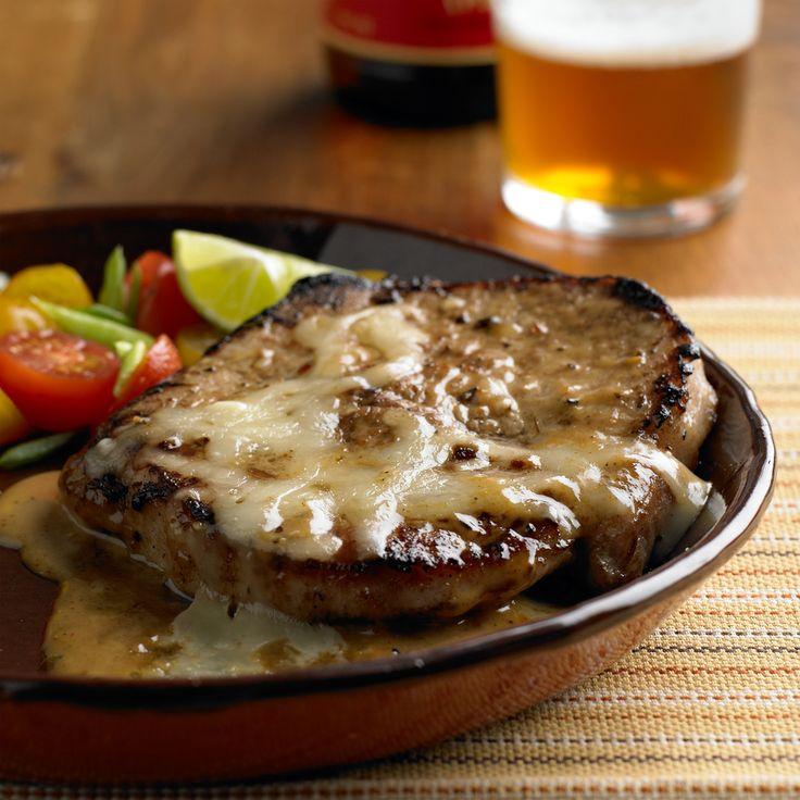 Cheesy Garlic & Rosemary Pork Chops