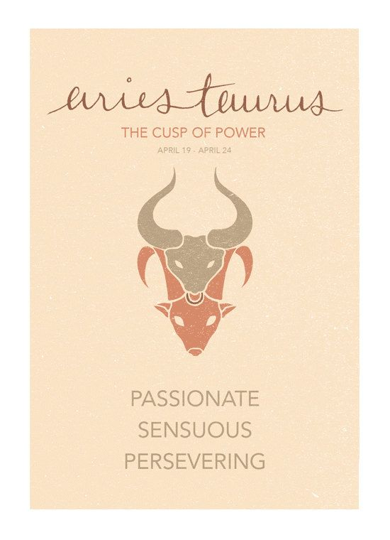 Aries Taurus Cusp Sign Print. Astrological Cuspian by ZodiacZone