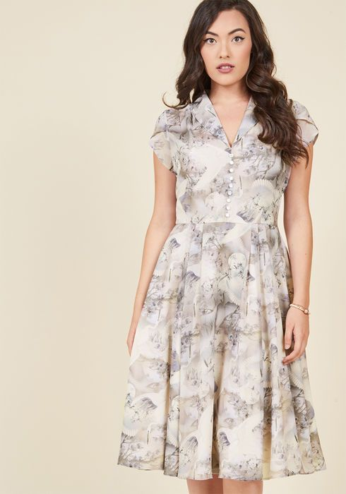 Hell Bunny Sculpture Garden Gala Midi Dress in Mauve